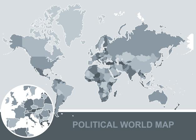 Politische Weltkarte Mit Allen Landern Hohe Qualitat Premium