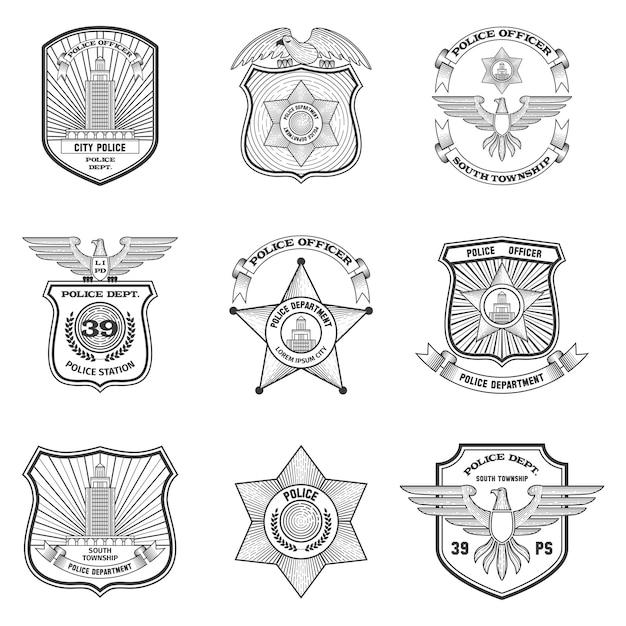 Polizei embleme gesetzt Kostenlosen Vektoren