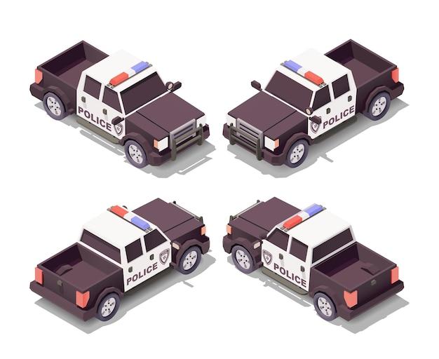 Polizei nimmt auto mit verschiedenen winkeln illustration auf Premium Vektoren