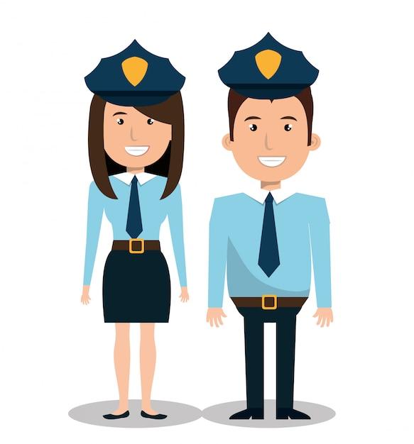 Polizei paar abbildung Kostenlosen Vektoren