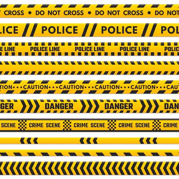 Polizei schwarze und gelbe linie kreuzen sich nicht. Premium Vektoren