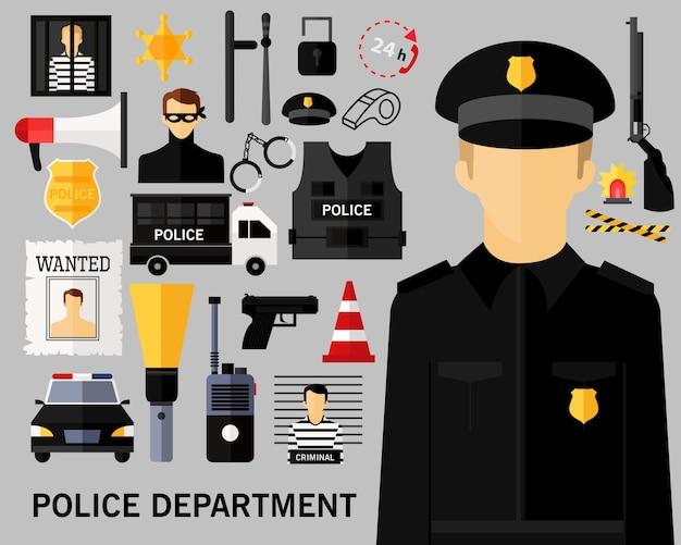 Polizeiabteilung konzept hintergrund. Premium Vektoren