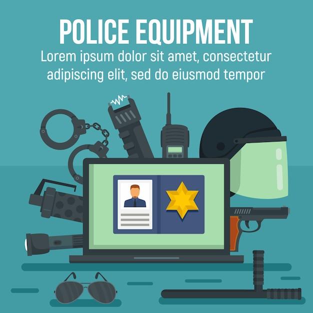 Polizeiausrüstungsschablone, flacher stil Premium Vektoren