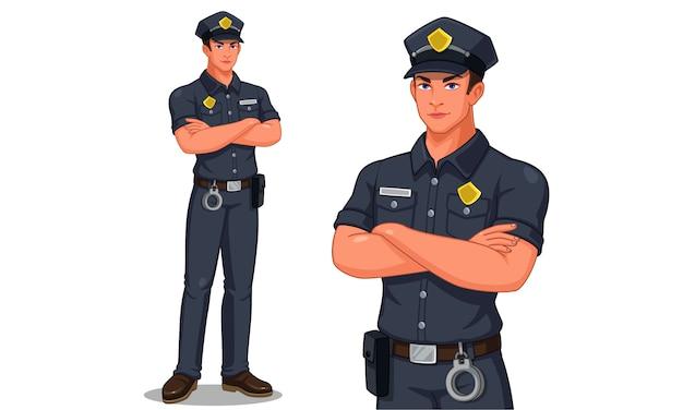 Polizeibeamte in der stehenden haltungsvektorillustration Premium Vektoren