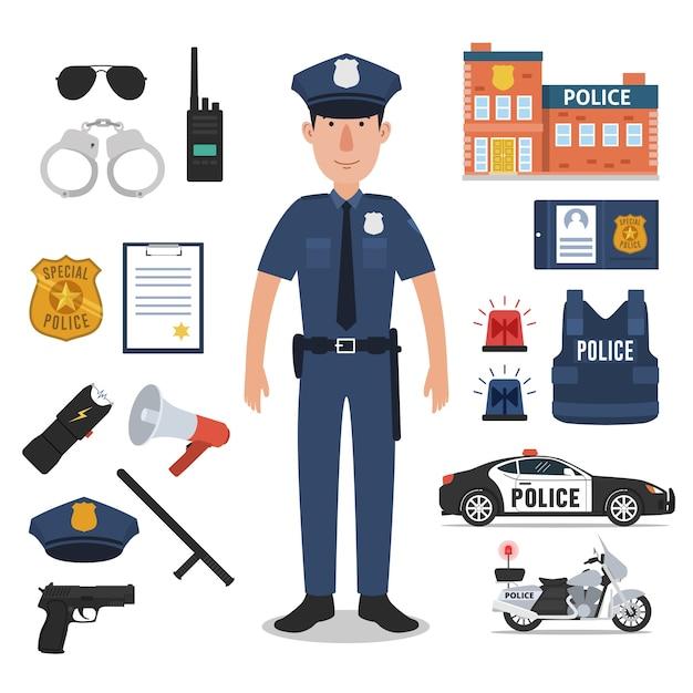 Polizeibeamte mit polizei-berufsausrüstungen Premium Vektoren