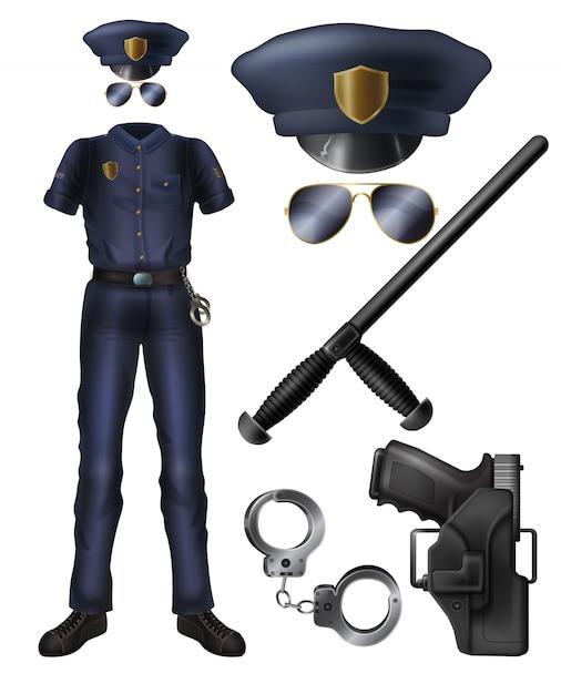 Polizeibeamte oder sicherheitsdienst schützen uniform, waffe, zubehörkarikatursatz. Kostenlosen Vektoren