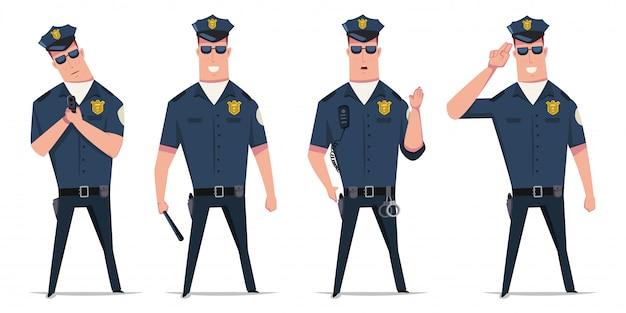 Polizeibeamte vektor festgelegt. lustige zeichentrickfilm-figur eines polizisten in den verschiedenen haltungen mit den handschellen, einer gewehr und einem taktstock lokalisiert Premium Vektoren