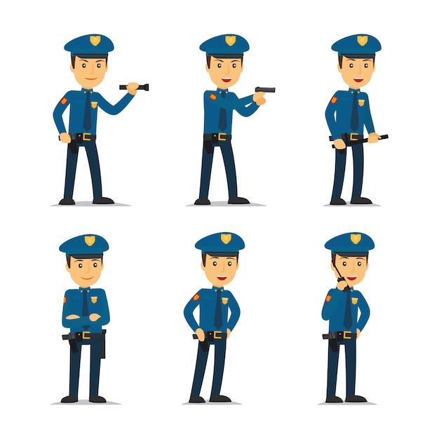 Polizeibeamtein in verschiedenen posen Premium Vektoren