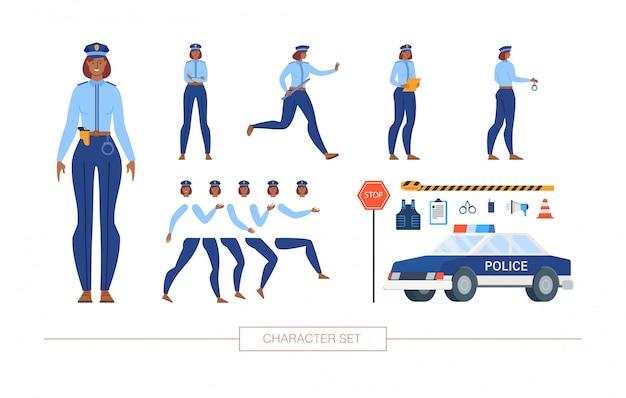 Polizeibeamtin character constructor flat set Premium Vektoren