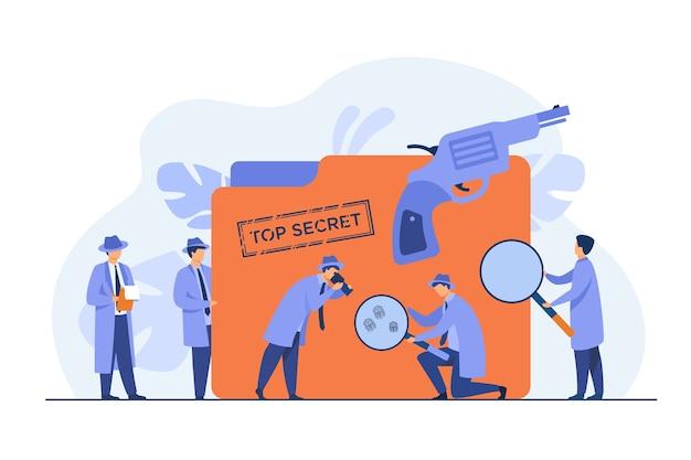 Polizeidetektive, die beweise mit flacher vektorillustration der lupe suchen. cartoon-spione oder agenten in hüten, waffen und undercover-akten. rätsel- und untersuchungskonzept Kostenlosen Vektoren