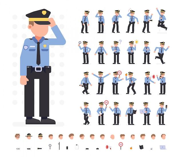 Polizeimann-zeichensatz in verschiedenen posen. flache vektor-illustration. isoliert Premium Vektoren