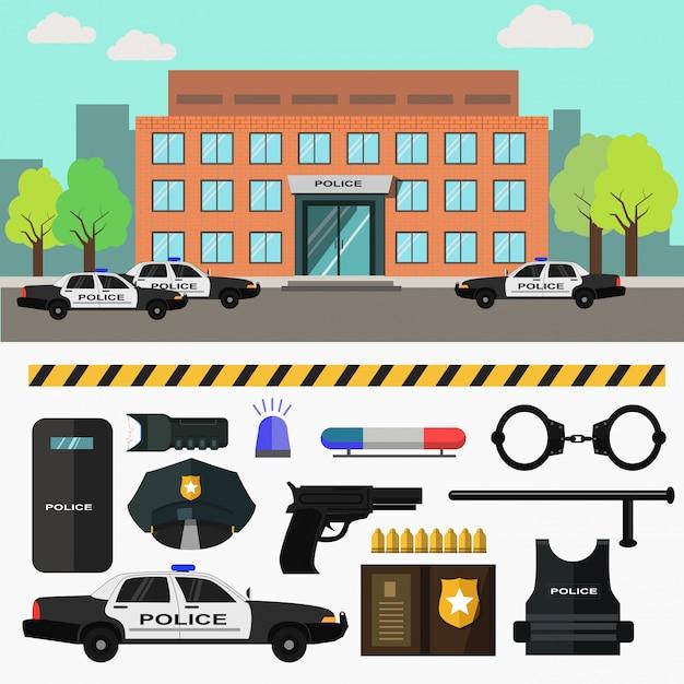Polizeistation der stadt Premium Vektoren