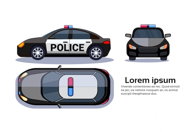 Polizeiwagen auf weißer getrennter oberseite Premium Vektoren