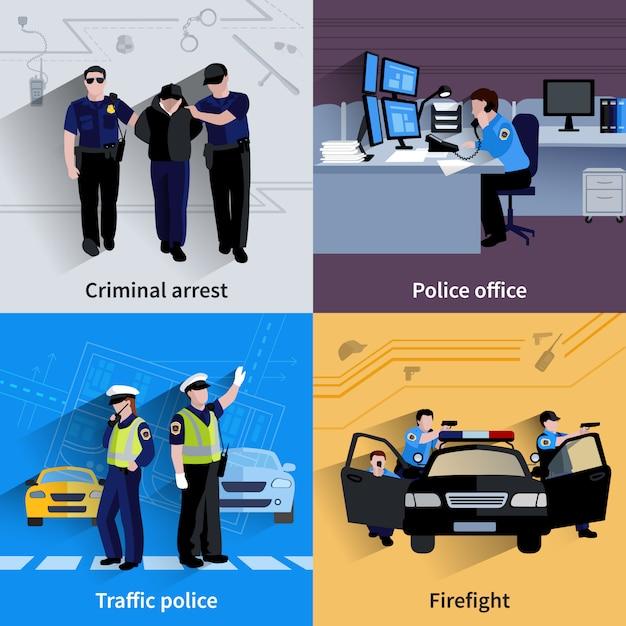 Polizist people 2x2 kompositionen Kostenlosen Vektoren