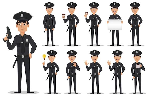 Polizist, polizist, eingestellt Premium Vektoren