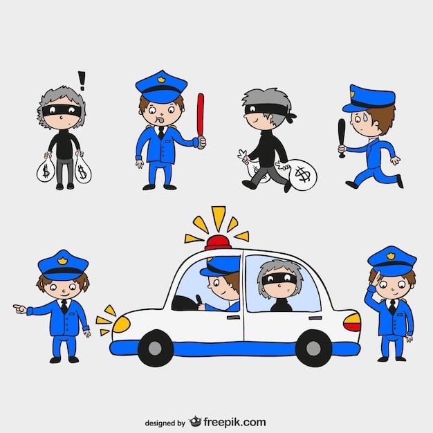 Polizisten und diebe zeichen Kostenlosen Vektoren