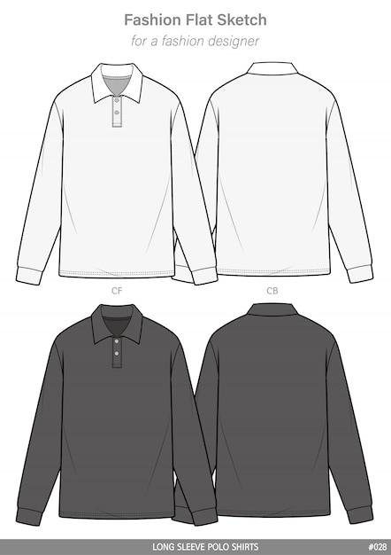 Polo shirts mode flache technische zeichnung vorlage Premium Vektoren