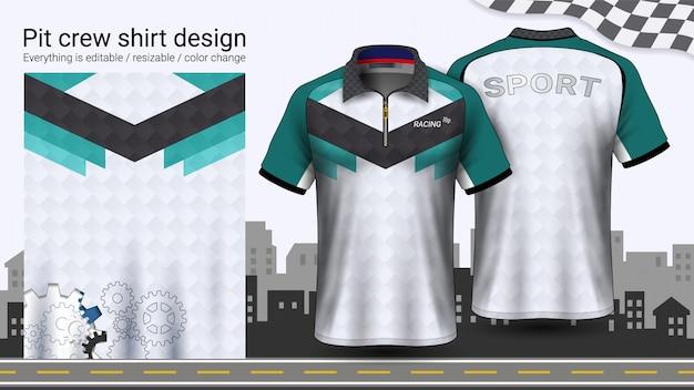 Polo t-shirt mit reißverschluss Premium Vektoren