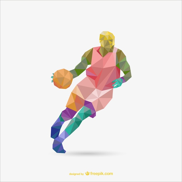 Polygon origami basketball-vektor Kostenlosen Vektoren