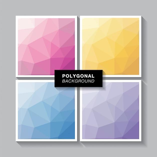 Polygon set 4 süße farben Premium Vektoren