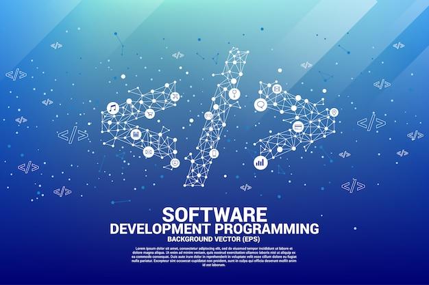 Polygon-software-entwicklungsprogrammieretikett mit punktverbindungslinie und funktion Premium Vektoren