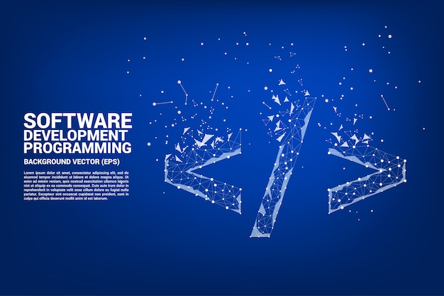 Polygon-software-entwicklungsprogrammierungs-tag-symbol mit punkt verbinden linie. Premium Vektoren