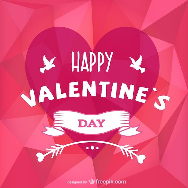 Elegant Polygon Valentinstag Karte Kostenlose Vektoren