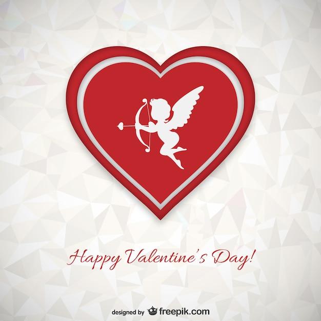 Polygon Valentinstag Karte Kostenlose Vektoren