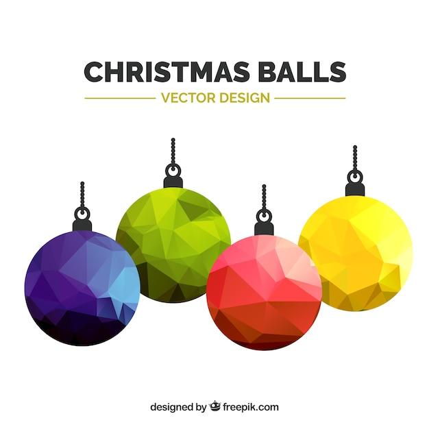 Polygonal farbigen weihnachtskugeln Kostenlosen Vektoren