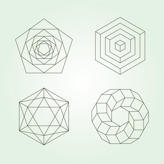 Polygonal-ikonen-sammlung Kostenlosen Vektoren