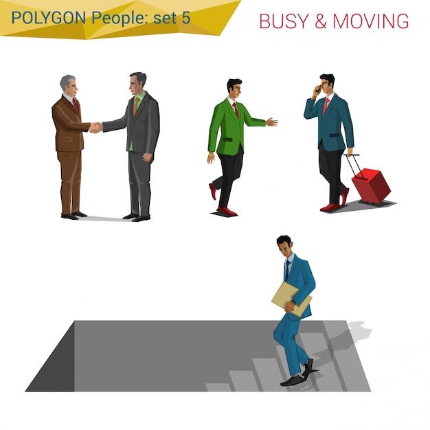 Polygonale artleute in bewegung stellten illustrationen ein. Premium Vektoren