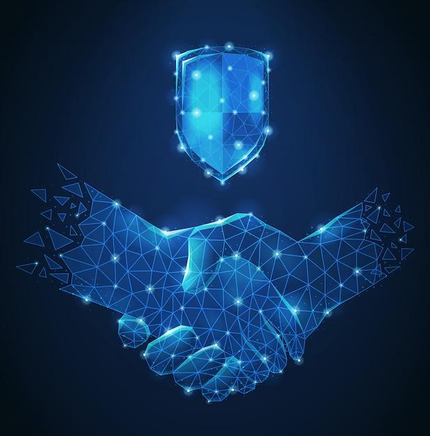 Polygonale drahtgitter-handschlag-abstrakte blaue zusammensetzung als symbolfreundschaft und geschäftspartnerschaftsvektorillustration Kostenlosen Vektoren