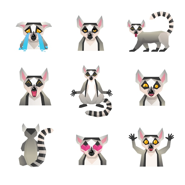 Polygonale lemur-icon-set Kostenlosen Vektoren