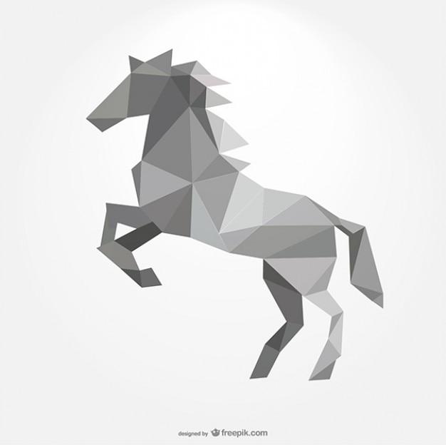 Polygonale pferd bilden durch dreiecke Premium Vektoren