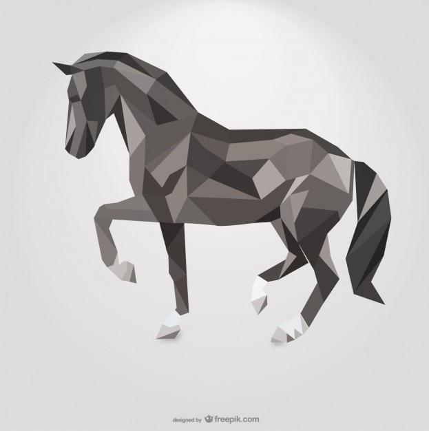 Polygonale pferd geometrischen dreieck-design Kostenlosen Vektoren