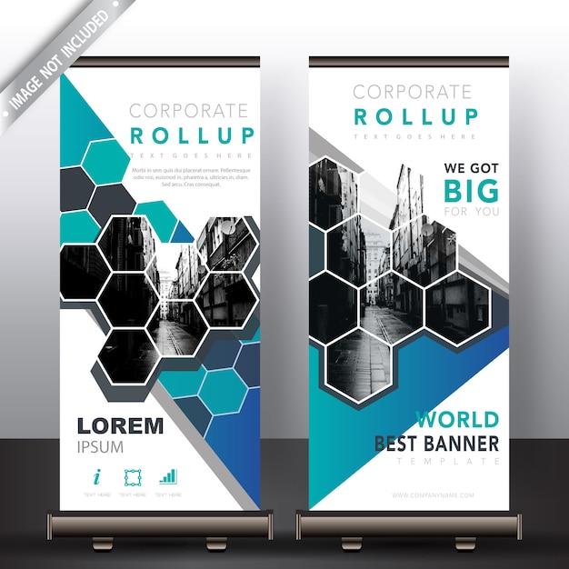 Polygonale roll-up-banner Kostenlosen Vektoren