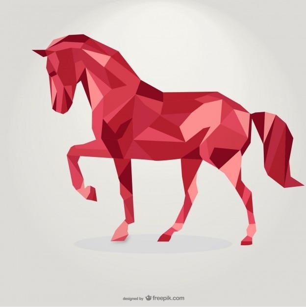 Polygonale rote pferd geometrischen dreieck-design Premium Vektoren