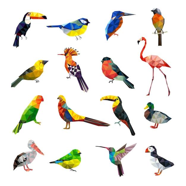 Polygonale vögel. geometrisch stilisierte tiere setzen fliegende farbige vögel low poly set. geometrisches polygonorigami, bunte tierillustration Premium Vektoren