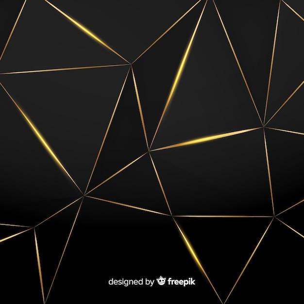 Polygonaler dunkler und goldener hintergrund Kostenlosen Vektoren