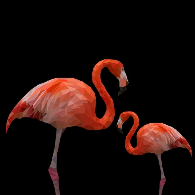 Polygonaler flamingo Premium Vektoren