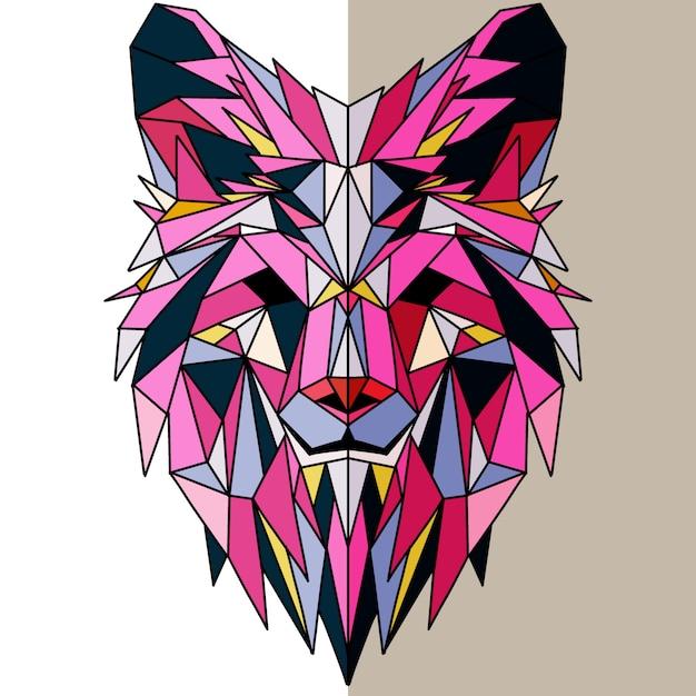 Polygonaler geometrischer wolfskopf Premium Vektoren