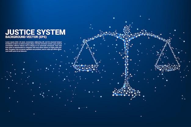 Polygonstil für gerechtigkeitsskala aus punkt- und linienverbindung. Premium Vektoren