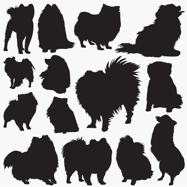 Pomeranian hundeschattenbilder Premium Vektoren