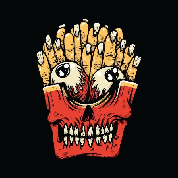 Pommes-frites-horror-monster-illustration Premium Vektoren