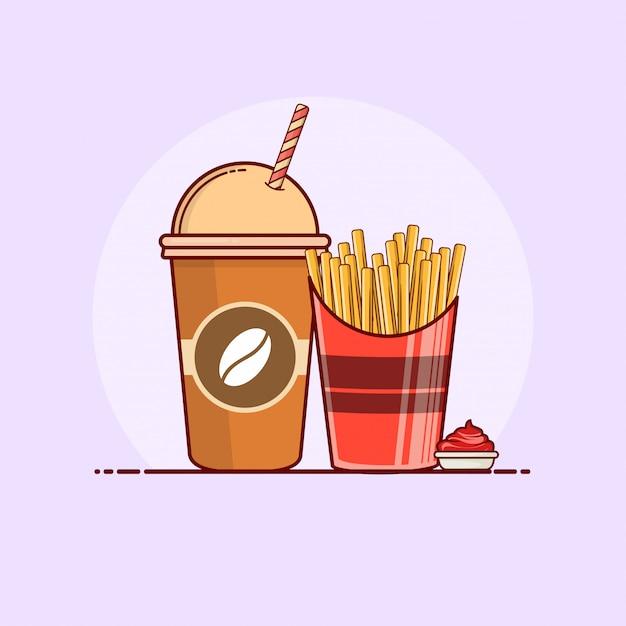 Pommes frites mit soda-symbolillustration. Premium Vektoren