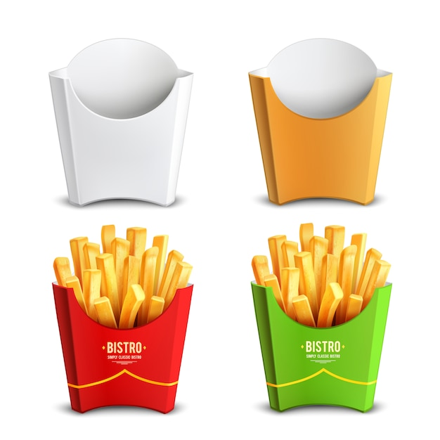 Pommes-fritespaket konzept des entwurfes Kostenlosen Vektoren