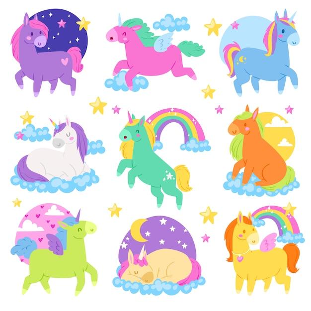 Ponykarikatur-einhorn- oder babycharakter des mädchenhaften pferdes mit horn und buntem pferdeschwanzillustrationssatz des fantasiekind-pferdeschwanztieres mit herz auf weißem hintergrund Premium Vektoren
