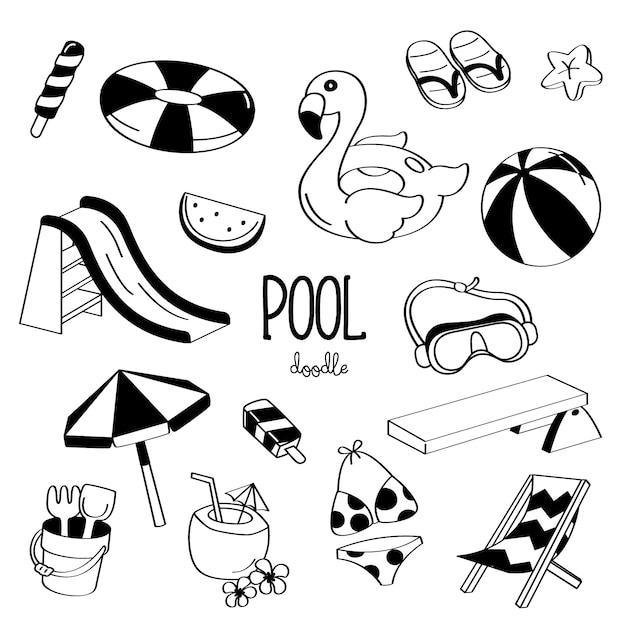 Pool-elemente für handzeichnungsstile Premium Vektoren