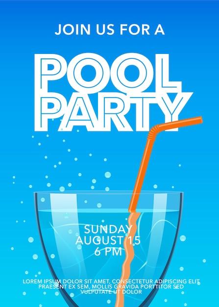 Pool party poster mit cocktail illustration template design Premium Vektoren