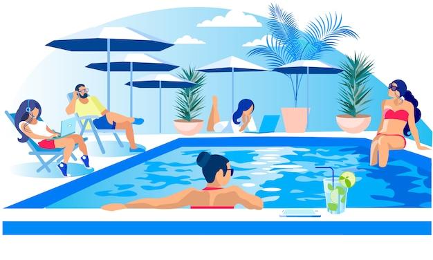 Pool-party-rest-sommerzeitillustration Premium Vektoren